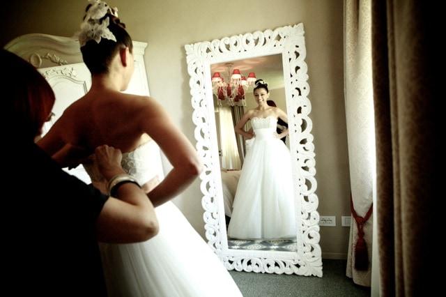 Barbara's Wedding dress by Italian designer Domo Adami