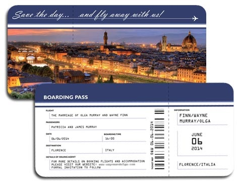 Aairline Ticket Save the Date - weddinginvitationdesigner.com - weddingsaboadguide.com