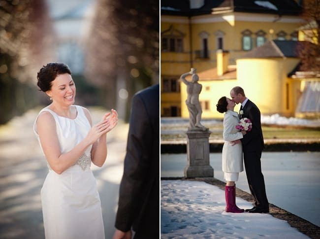 Erins Winter Wedding Dress for her wedding in Austria // Claire Morgan Photography