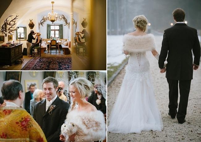 Lesley Anne S Winter Wedding Dress Schloss Prielau Claire Morgan Photography Weddingsabroadguide