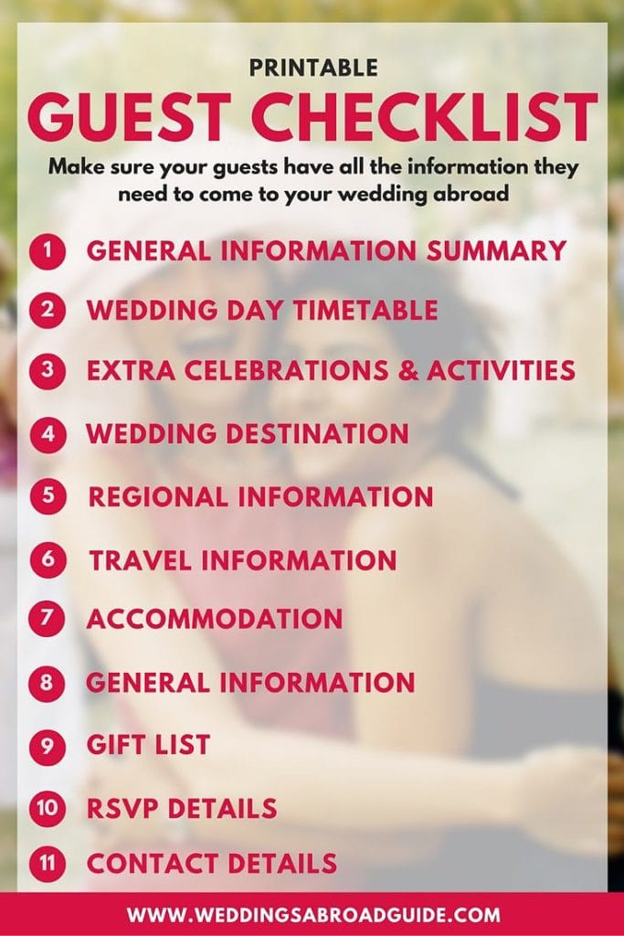Destination Wedding Etiquette Your Free Guest Information Checklist Make Sure Guests Have