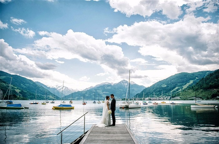 5 Exceptionsl Exclusive Use Wedding Abroad Venues in Europe // Schloss Prielau Wedding Venue Zell am See Austria